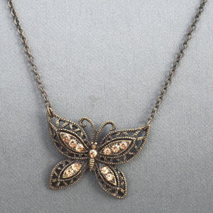 Jewelry - Butterfly Patina Chain Pendant Necklace Crystal
